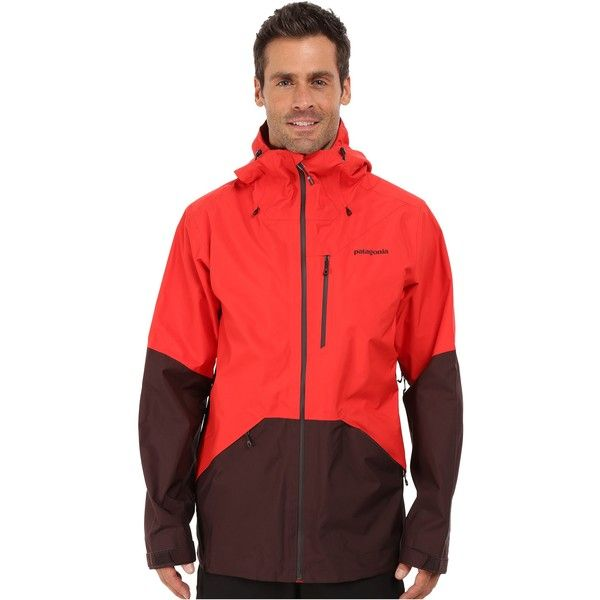 Patagonia Snowshot Jacket (French Red) ($150) ❤ liked on Polyvore featuring men's fashion, men's clothing, men's activewear, men's activewear jackets, red and patagonia