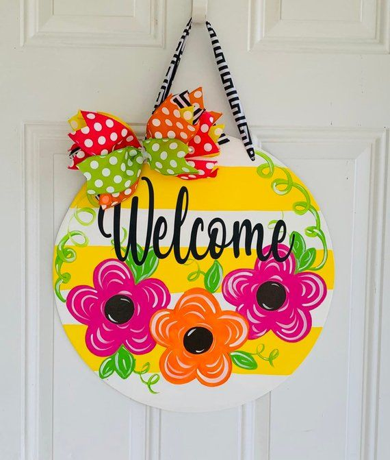 Welcome Front Door Sign Flower Front Door Decor Welcome Etsy Door Hangers Diy Wooden Door Signs Door Decorations