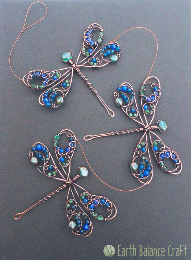 Triple Demoiselle Dragonfly Suncatcher - A decorative copper wire dragonfly hanging mobile featuring three of a rather special British species, the 'Beautiful Demoiselle'.
