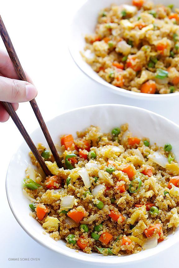 "Quinoa Fried ""Rice"" -- all of the great flavors of fried rice, made with protein-packed quinoa instead of rice! 