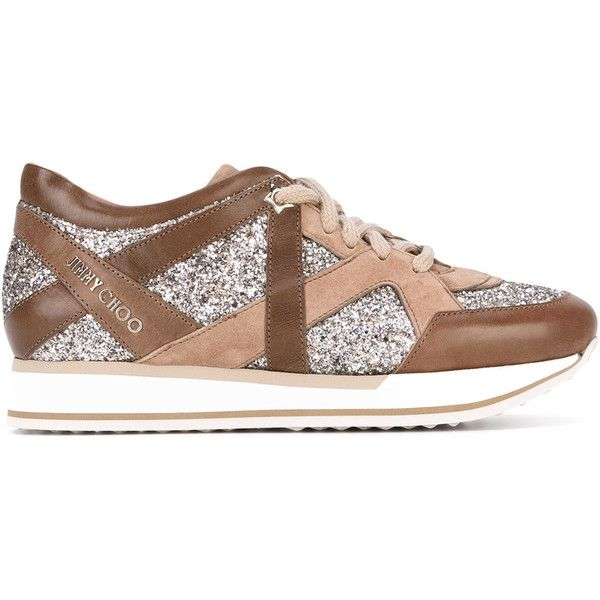 Jimmy Choo London sneakers (€690) ❤ liked on Polyvore featuring shoes, sneakers, brown, lacing sneakers, jimmy choo shoes, brown lace up shoes, leather shoes and brown leather sneakers