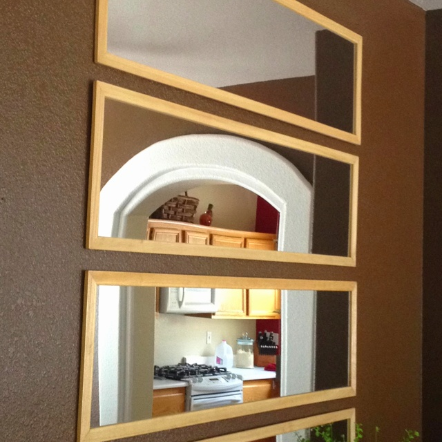 This Mirror Could Look Ugly And Old Fashioned But In This: Door Mirrors Horizontal On Wall. Cheap Wall Deco.