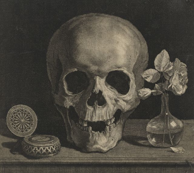 Still Life with a Skull and a Vase of Roses (1645/1650 / Etching with engraving) - Jean Morin