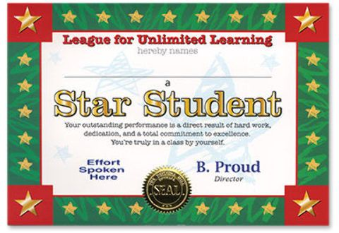 star student certificate Case of 6