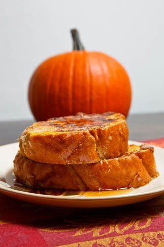 Pumpkin French toast. I am soooo making this. Update: Made this, finally. It has more of a mild pumpkin flavor than I expected but it's very good. I used twice the cinnamon the recipe called for, plus I used cinnamon chip bread from Great Harvest - it was awesome. I will definitely be making this again.
