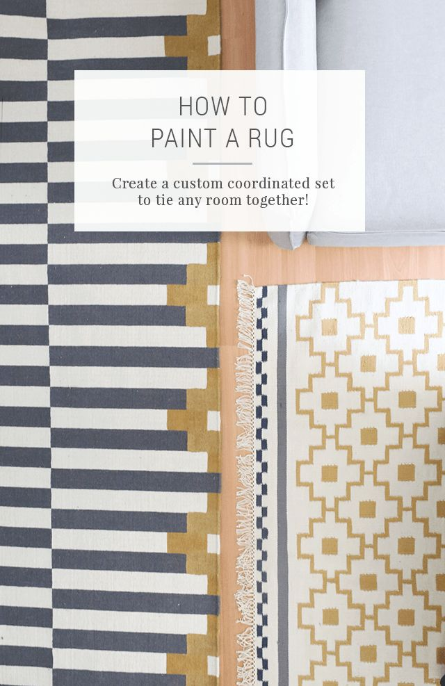 IKEA Hack: How to Paint a Rug to Make a Coordinated Set. Tips and tricks for what kind of paint to use on a rug and how to choose the perfect color and pattern idea. Use this DIY design technique to paint a doormat or a big area rug. Plus, click for more great IKEA hacks!