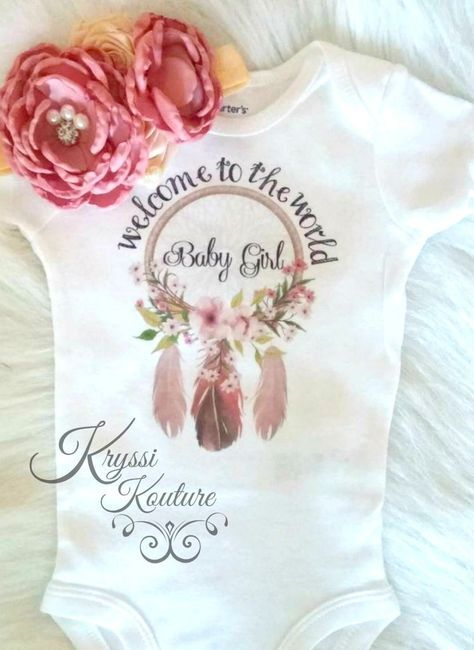 Welcome to the World Baby Girl-Bohemian Baby- Newborn Shirt - Hospital Outfit…
