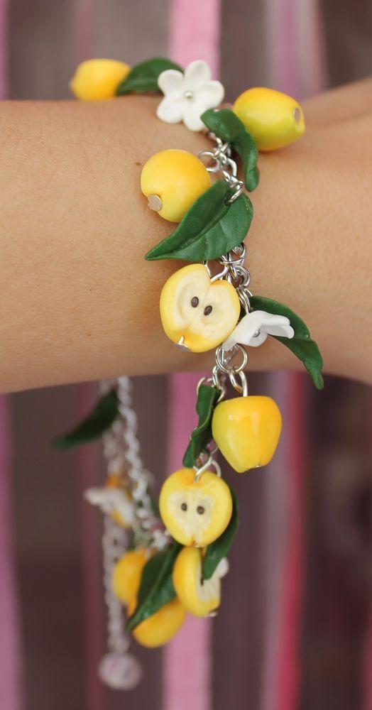 Jewelry Bracelet /Yellow Apples / Handmade /Christmas gift / Polymer clay #Handmade #Chain