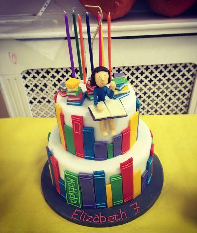 Matilda cake Roald Dahl party