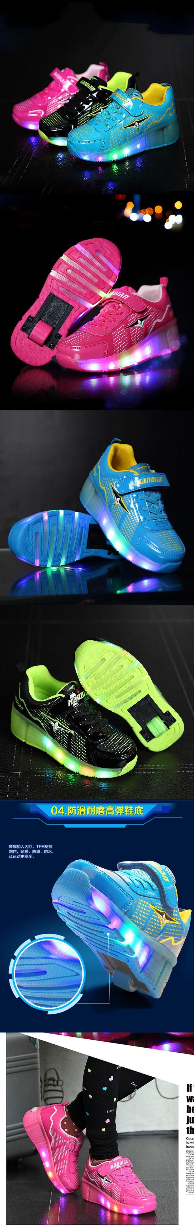 Child Heelys Girls Boys LED Light wHeelys Roller Skate Shoes For Children Kids Sneakers With Wheels Zapatillas Con Ruedas