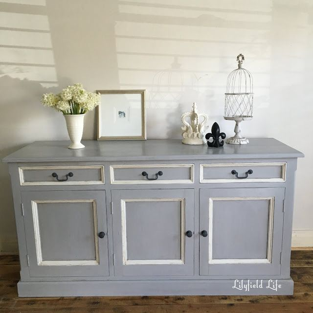 Painted Pine Sideboard before and after Paris Grey, Old white