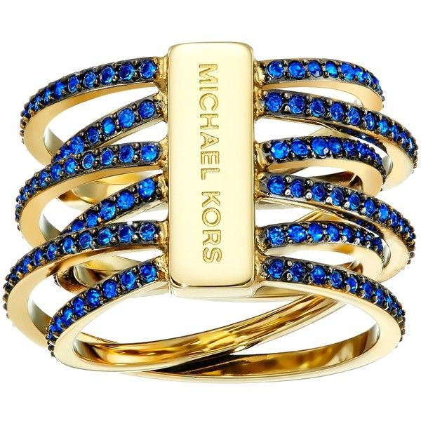 Michael Kors Parisian Jewels Crisscross Ring, Gold found on Polyvore featuring jewelry, rings, gold, criss cross ring, blue charm, blue ring, michael kors rings and gold tone charms