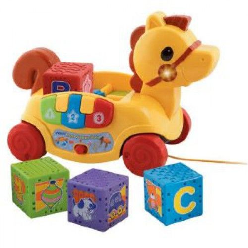 From the Manufacturer V Tech's Push and Learn Pony is a combination of block-play and pull-toy for expanded learning fun for your baby. Four blocks load into the pony 'cart' and teach letters, numbers, shapes and objects and three piano keys teach colors, numbers and shapes. With two modes of play and a storable pull string, baby will have a blast learning something new each time he plays with the Push and Learn Pony.