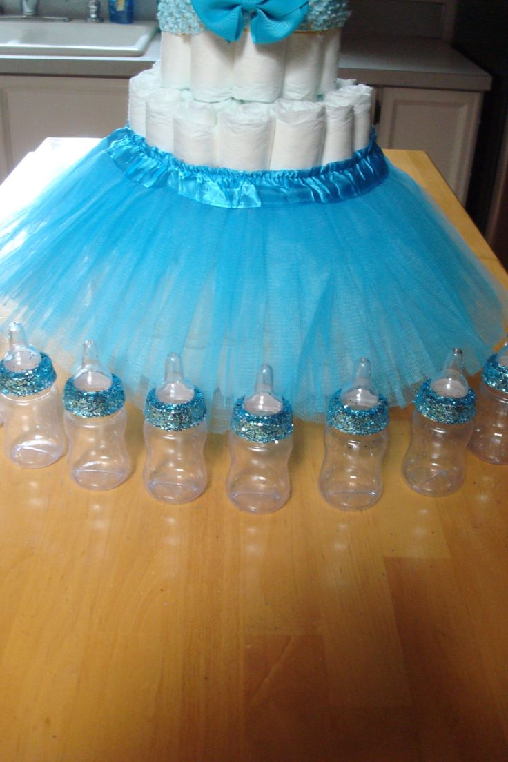 Tiffany Themed Baby Shower; Blue Glitter Baby Bottle Favors; Royal Theme  Baby Shower;