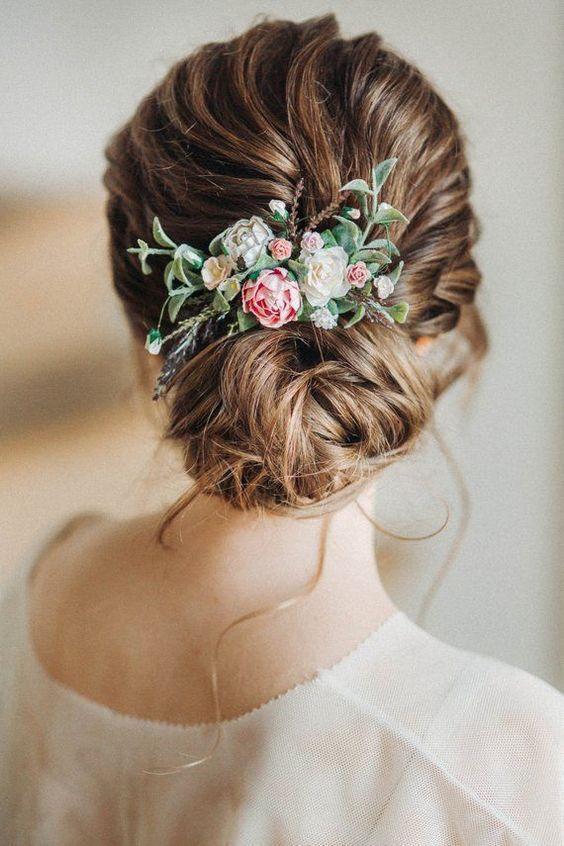 fall wedding hair comb Blush boho bridal hair comb rustic wedding comb flower comb ivory off white greenery hair piece bridal comb