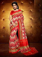Red Color Bhagalpuri Casual Wear Sarees : Garvi Collection  YF-41773