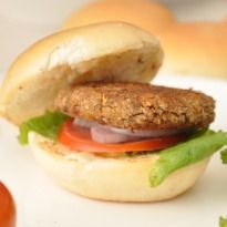 Lentil-Mushroom Burgers: Now #burgers that are #healthy. Patties made with mushrooms, lentils and sun-dried tomatoes sliced between whole wheat buns.