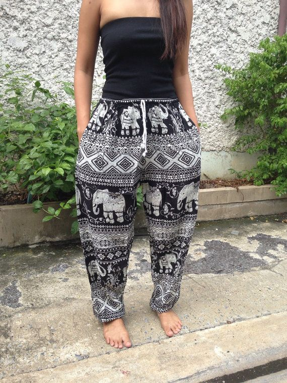 Elephant print Yoga Exercise Pants Baggy Boho by TribalSpiritShop