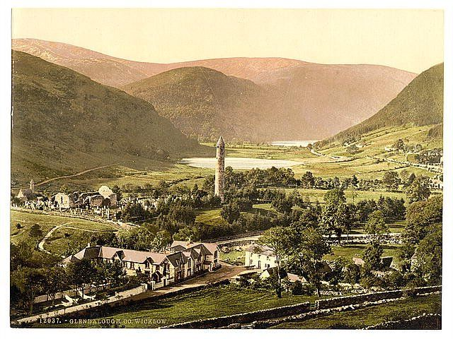 A late 19th century photo showing the monastic site at Glendalough, Co. Wicklow