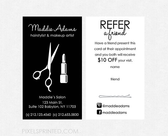 hairstylist referral cards, hair salon referral cards, simple hairstylist referral cards, simple hair salon referral cards