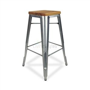 Tolix Premium 65cm Timber Seat Bar Stool in Galvanized