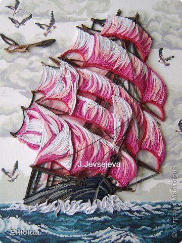 Декор предметов Картина панно рисунок Декупаж Квиллинг Парусник Банки стеклянные Бумага Кружево фото 2