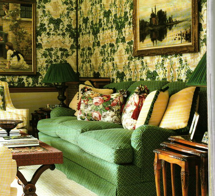 Mossy green, buttery yellow and antiques - Nina Campbell interior