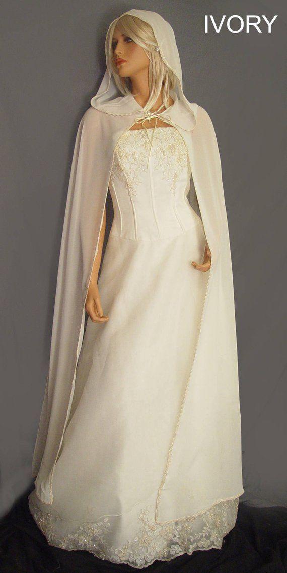98f2e803152c8 Chiffon wedding cloak bridal renaissance Medieval hooded cape | Etsy ...