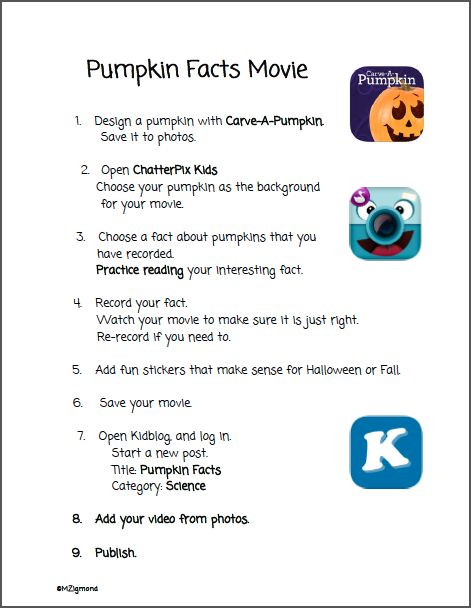 Pumpkin Fact Task Card - app smash to make a fun & informational movie