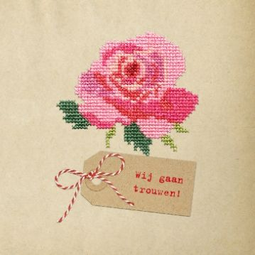 Hippe retro #trouwkaart Gijs & Aukje | met #geborduurde #roos