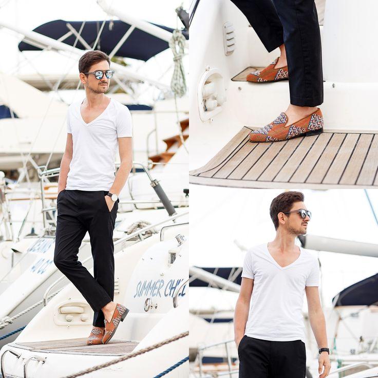 Blog post: http://themysteriousgirl.ro/2015/05/inka-slippers-in-port-olympic/ Insta: https://instagram.com/adriansunriseinc/ inka slippers loafers black pants trousers white shirt casual smart look
