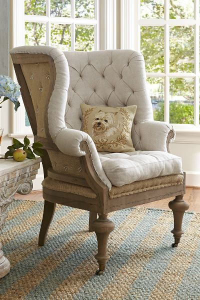 Fontaine Wingback Chair An instant heirloom, based upon an intriguing 19th century wingback chair we found at the Avignon déballage market. The deconstructed back - with