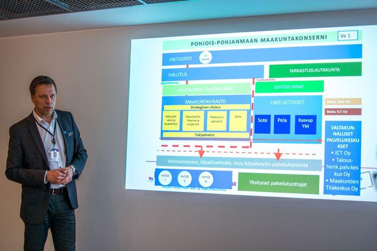Pohjois-Pohjanmaan ELY-keskuksen elinkeinot, työvoima ja osaaminen -vastuualueen johtaja Petri Keränen esittelee POP maakuntakonsernia Oulussa 10/2017.