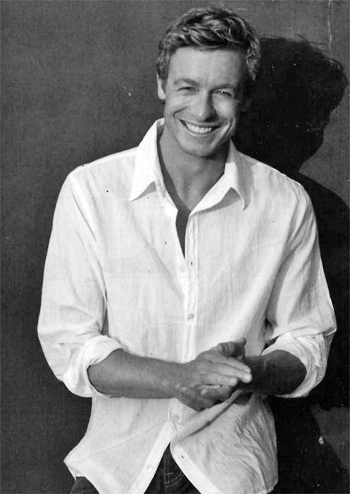Simon Baker - his good looks are a bit different from the rest, the golden curlyish hair sort of makes me think of Redford, his coloring...and his Smile! That face just lights up!