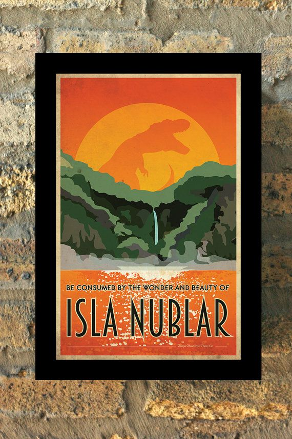Be consumed by the wonder and beauty of Isla Nublar! Fantastic, vintage style Jurassic Park inspired travel poster. Comes with out signature. If youd