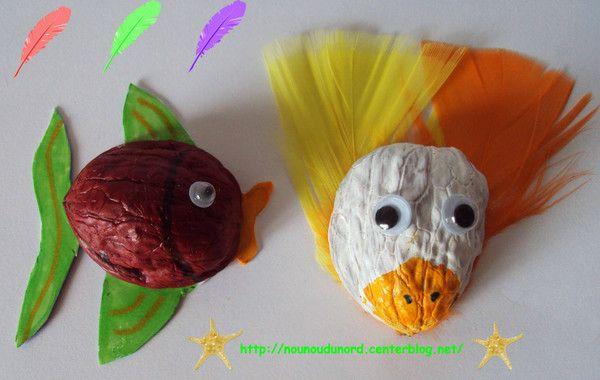 Poisson et oiseau réalisés avec les coquilles de noix, explications sur mon blog http://nounoudunord.centerblog.net/rub-activie-1er-avril-.html
