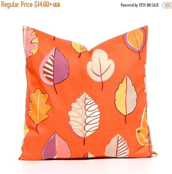 15% Off Sale Fall Pillow Cover, Orange Pillow Cover, Leaves on Orange,Throw Pillow Cover, Holiday Decor, Orange Cushion Covers,  Fall Decor,