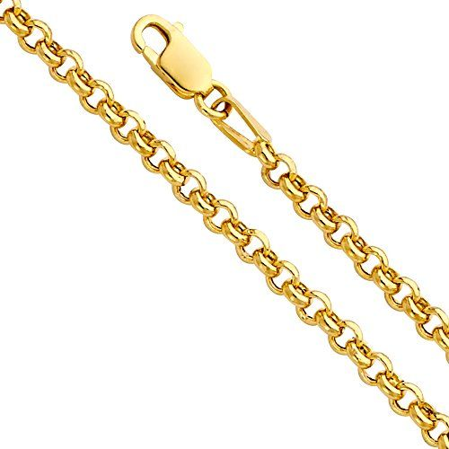 14k Yellow OR White Gold Hollow 2.5mm Fancy Rolo Chain Necklace with Lobster Claw Clasp