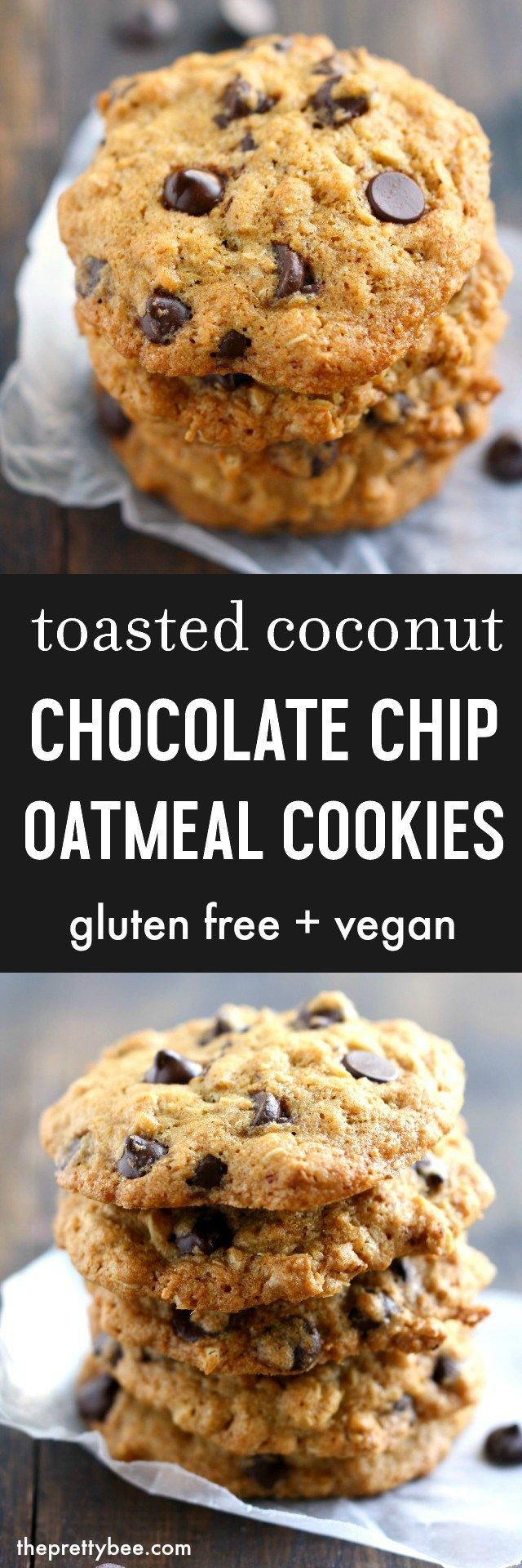 Toasted coconut chocolate chip oatmeal cookies are chewy and delicious. This easy cookie recipe is vegan and gluten free.