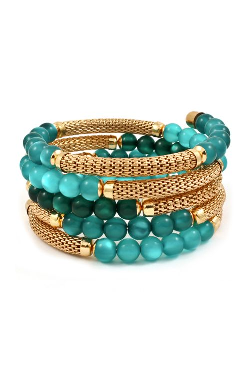 Kimmie Mesh Bracelet in Teal Hues on Emma Stine Limited