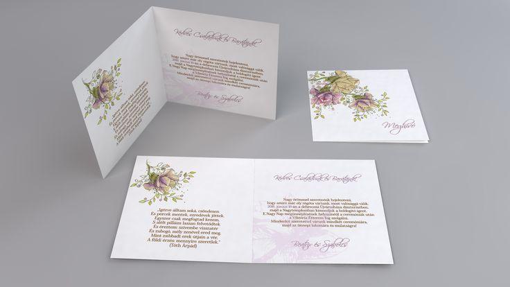 Virágos esküvői meghívó - Flower wedding invitation, graffic wedding invitation