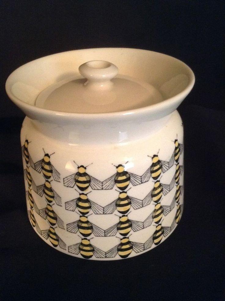 VINTAGE ARABIA FINLAND HONEY JAR SUGAR BOWL BEE DECORATION-EARLY DESIGN KAJ EC!!
