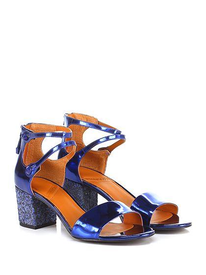 What for - Sandalo alto - Donna - Sandalo alto in pelle spazzolata lucida con zip su retro, tacco 60. - NAVY - € 135.00