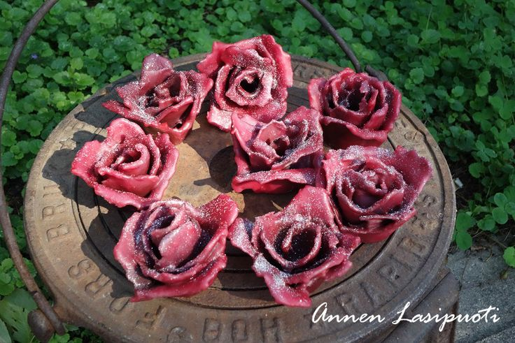 Roses for a fireplace. Put one of these on top of the logs, and the fire comes up easily.