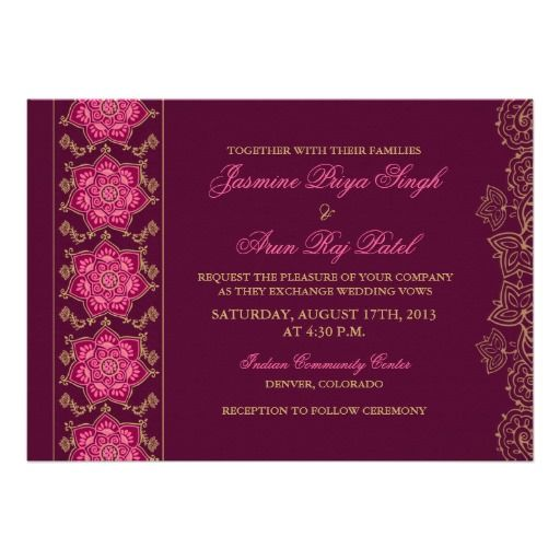 Henna Raisin Pink Gold Wedding Invitations