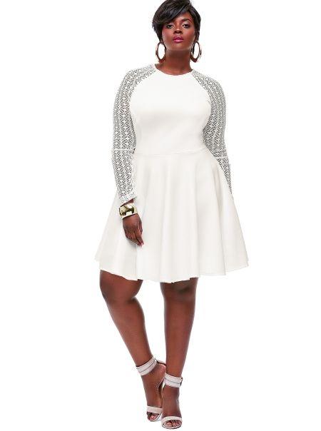 "dd8f2b5b599 ""Spencer"" Crochet Lace Sleeve Dress -Off White - Cocktail Dresses -  Clothing - Monif C"