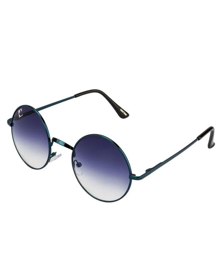 Clark N' Palmer Blue Gradient Blue Frame Round Sunglasses