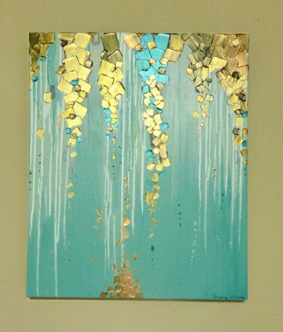 Pintura metalizada escurre por este lienzo  Tamaño: 20 x 24 x 1,5 pulgadas  Colores: Cercetas, aquas, blancos, metálicos cobre, metálicos dorados, metálicos azul metálicos y bronce.  La calidad visual de las pinturas metálicas en esta pintura con textura es impresionante y brilla en la luz.  Pintura está firmada en la parte inferior. Lados del lienzo están pintadas por lo que su nueva pintura está listo para colgar. Envío: Cada pintura es cuidadosamente empaquetado y enviado a FED EX…