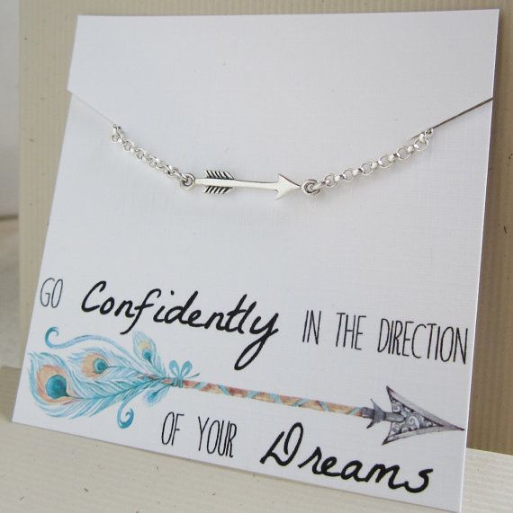 Arrow bracelet Graduation gift for her, daughter gift, sterling silver arrow charm bracelet, high school, college gradutation, message card