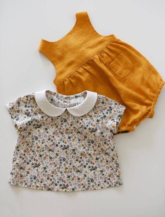 7cd9063b8 Baby Outfit, Girl Outfit, Linen Romper, Floral Top, Peter Pan Collar ...